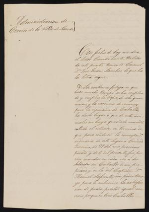 Primary view of object titled '[Letter from José Francisco de la Garza to the Laredo Ayuntamiento, March 9, 1837]'.