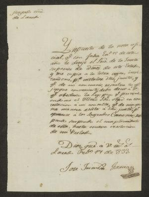 Primary view of object titled '[Letter from José García to the Laredo Ayuntamiento, February 17, 1833]'.