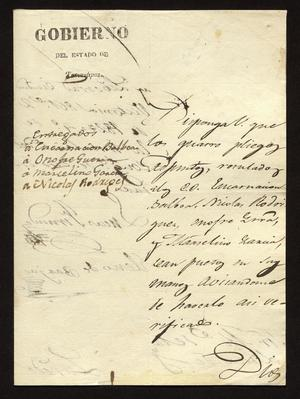 Primary view of object titled '[Letter from Lucas Fernández to the Laredo Alcalde, October 2, 1827]'.