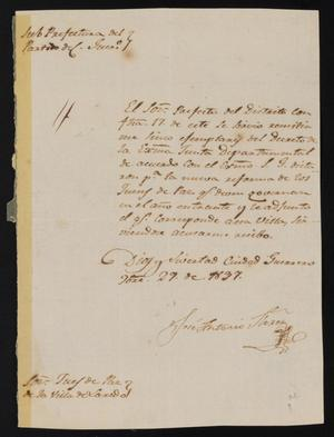 Primary view of [Letter from José Antonio Flores to the Laredo Justice of the Peace, November 29, 1837]