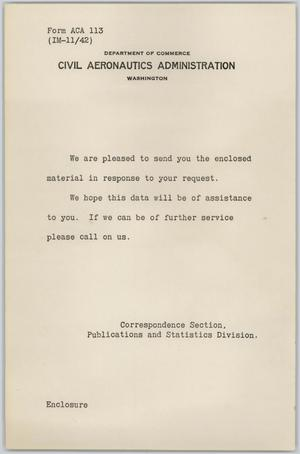 Primary view of object titled '[Collection of Documents Addressed to Air Men and Civilian Pilots]'.