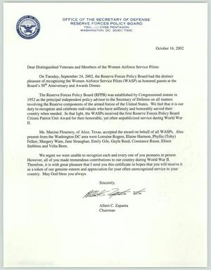 Primary view of object titled '[Letter from Albert Zapanta to Members of the WASP, October 16, 2002 #1]'.