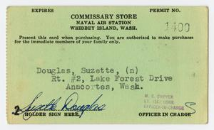 Primary view of object titled '[Navy Commissary Card]'.