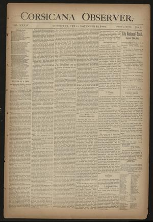 Primary view of object titled 'Corsicana Observer. (Corsicana, Tex.), Vol. 34, No. 5, Ed. 1 Friday, November 22, 1889'.