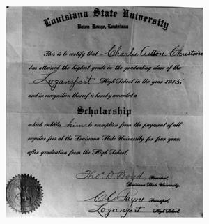 Primary view of object titled 'Louisiana State University Scholarship Awarded to Charlie Christian in 1915'.