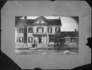 Primary view of object titled '[A horse and buggy in front of the J.H.P. Davis house]'.