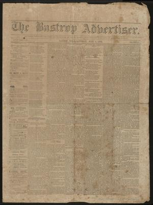Primary view of object titled 'The Bastrop Advertiser. (Bastrop, Tex.), Vol. 19, No. 33, Ed. 1 Saturday, July 1, 1876'.