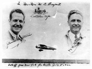Primary view of object titled 'Autographed Photo of Pilots Jimmie Mattern and Bernie Griffin'.