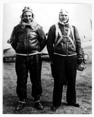 Primary view of object titled 'Doug Bryant and His Flight Instructor, 1942'.
