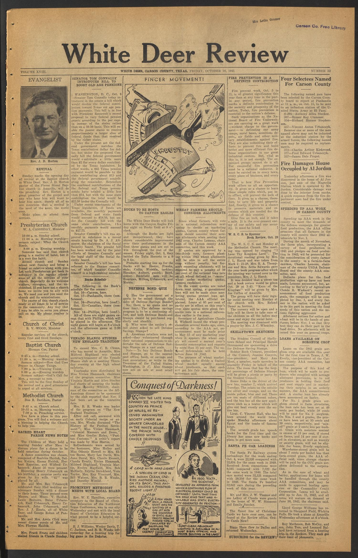 White Deer Review (White Deer, Tex.), Vol. 18, No. 32, Ed. 1 Friday, October 10, 1941                                                                                                      [Sequence #]: 1 of 4
