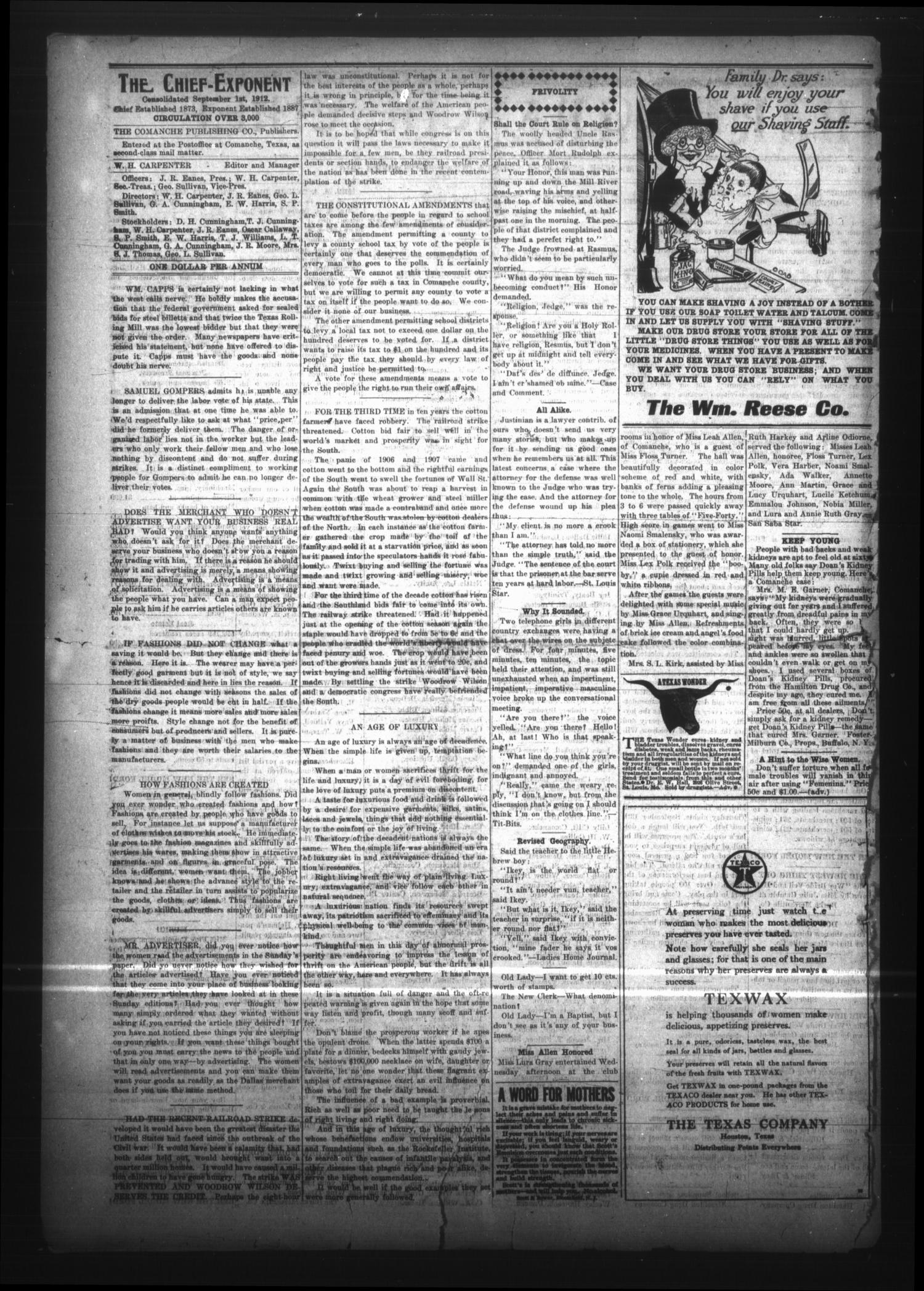 The Comanche Chief and Pioneer Exponent (Comanche, Tex.), Vol. 45, No. 2, Ed. 1 Friday, September 8, 1916                                                                                                      [Sequence #]: 2 of 8