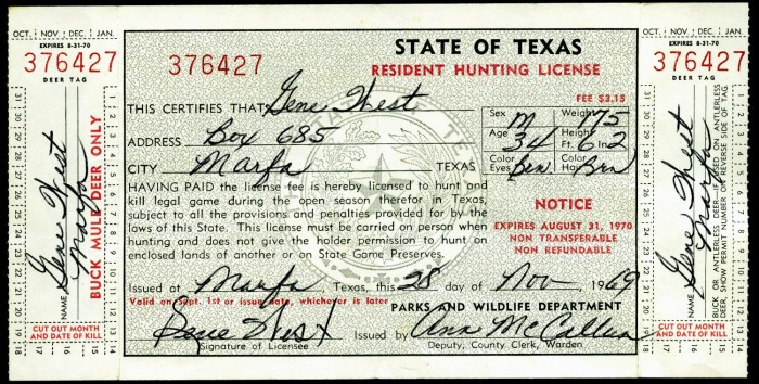 Gene west 39 s hunting license from 1969 sequence 1 the for How much is a texas fishing license