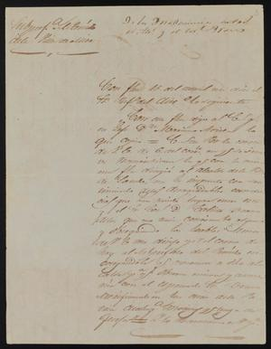 Primary view of [Letter from Policarzo Martinez to Alcalde Ramón, September 19, 1845]