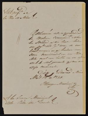 Letter from Policarzo Martinez to the Laredo Junta Municipal, April 17, 1845