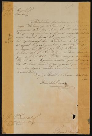 Primary view of [Letter from Jesus de la Garza to the Laredo Mayor, November 2, 1858]
