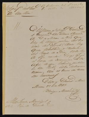 Primary view of [Letter from Policarzo Martinez to the Laredo Ayuntamiento, March 27, 1845]