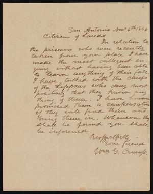 [Letter from William G. Crump to the Citizens of Laredo, November 6, 1846]