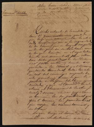 Primary view of object titled '[Letter from Comandante Bravo to Laredo Alcalde Ramón, May 2, 1845]'.