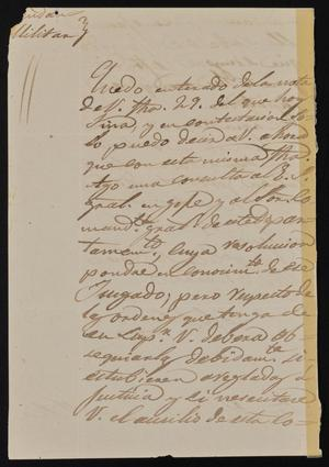 Primary view of object titled '[Letter from Comandante Calisto Bravo to the Laredo Alcalde, March 31, 1845]'.