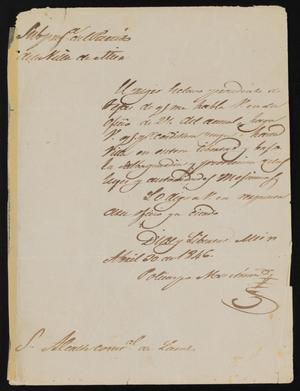 Primary view of [Letter from Policarzo Martinez to Alcalde García, April 20, 1846]