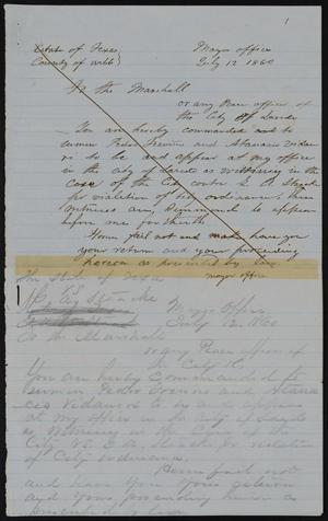 Primary view of [Subpoena: P. Treviño and A. Vidaurri]