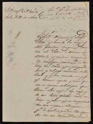 Primary view of [Letter from Policarzo Martinez to the Laredo Alcalde, May 16, 1845]