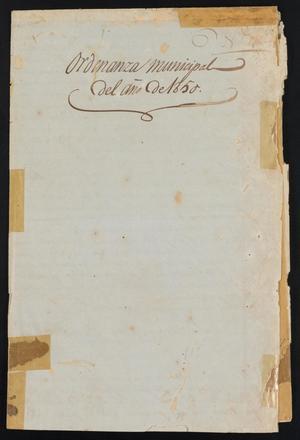 Ordenanza Municipal del Año de 1850