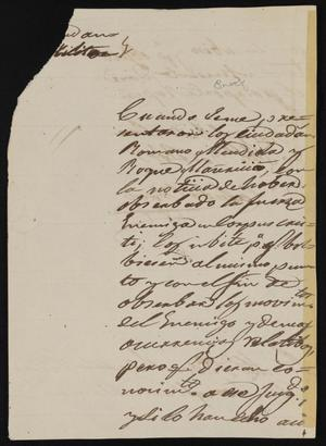 Primary view of [Letter from Comandante Bravo to Alcalde Ramón, August 30, 1845]