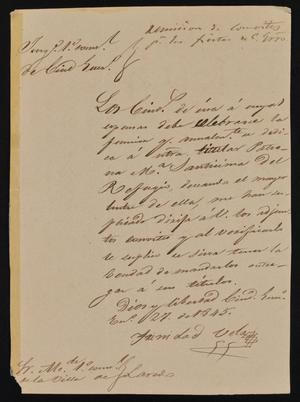 Primary view of [Letter from Trinidad Vela to the Laredo Alcalde, January 27, 1845]
