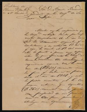 [Letter from Florencio Villarreal to the Mayor of Laredo, August 26, 1850]