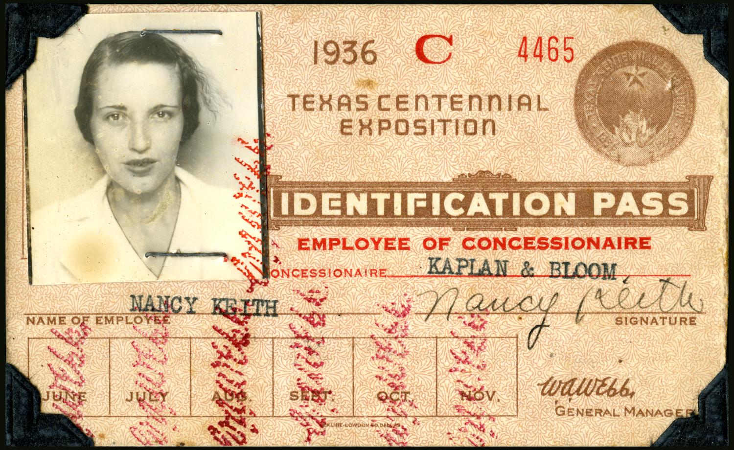 Nancy Keith's Identification Card                                                                                                      [Sequence #]: 1 of 1