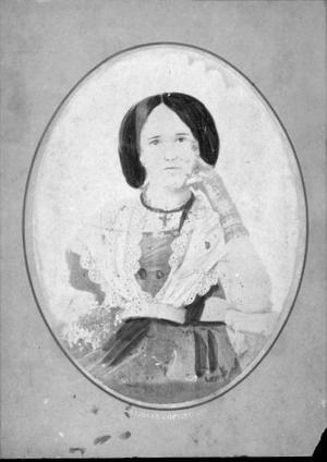 Primary view of object titled '[An unidentified woman in a lacy dress, with her hand resting against her face]'.