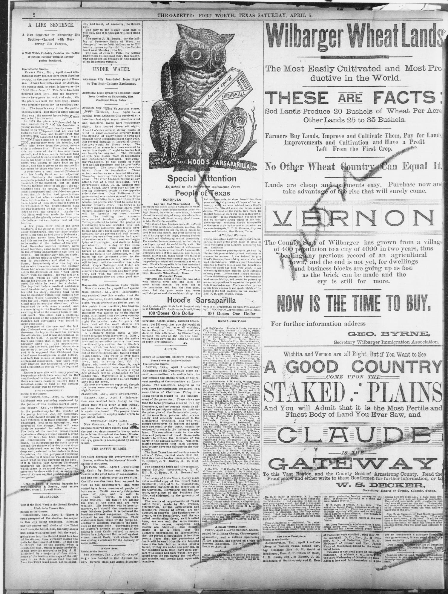 Fort Worth Daily Gazette  (Fort Worth, Tex ), Vol  14, No  175, Ed
