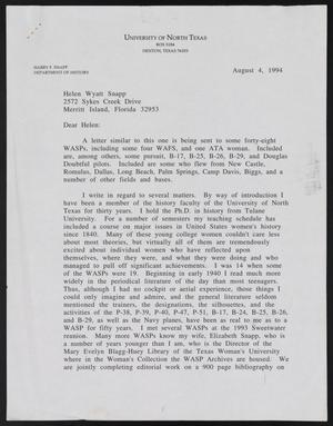 Primary view of object titled '[Letter from Harry R. Snapp to Helen Wyatt Snapp, August 4, 1994]'.