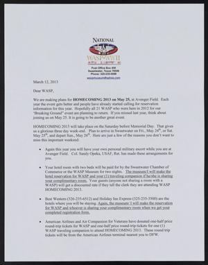 Primary view of object titled '[Letter from the National WASP WWII Museum to WASP, March 12, 2013]'.