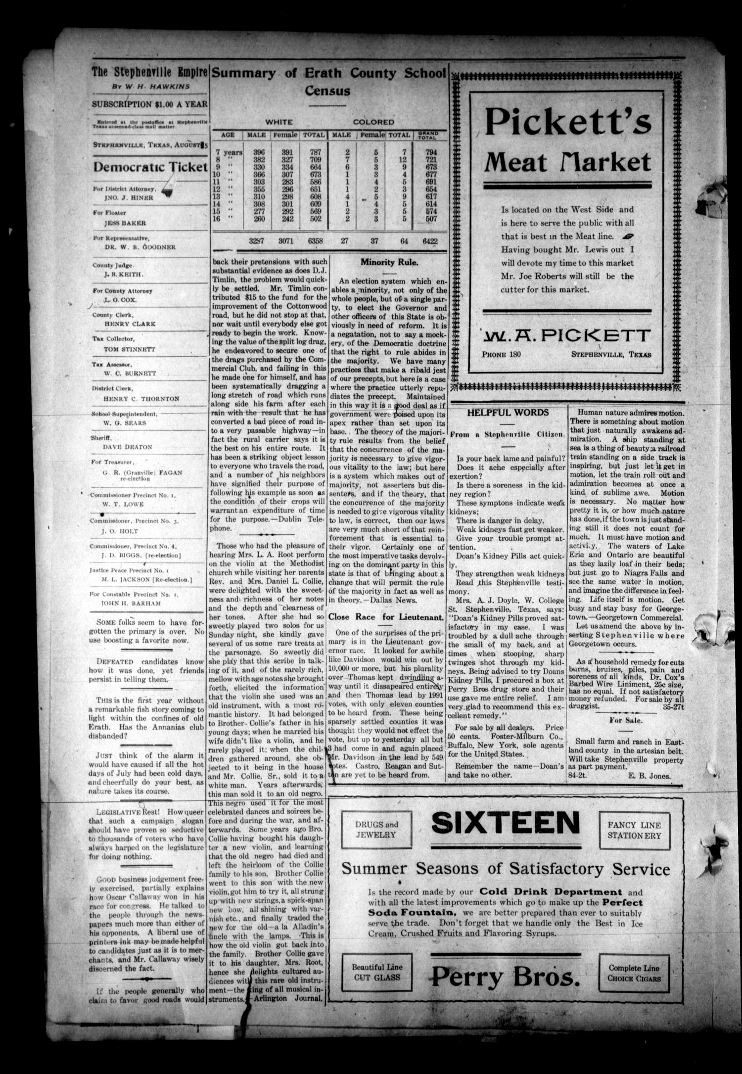 The Stephenville Empire. (Stephenville, Tex.), Vol. 38, No. 48, Ed. 1 Friday, August 5, 1910                                                                                                      [Sequence #]: 4 of 8