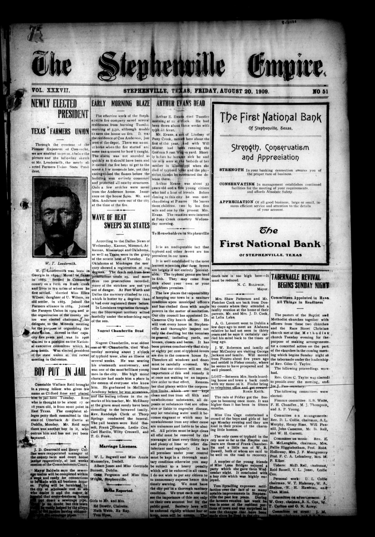 The Stephenville Empire. (Stephenville, Tex.), Vol. 37, No. 51, Ed. 1 Friday, August 20, 1909                                                                                                      [Sequence #]: 1 of 8