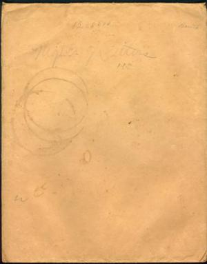 Primary view of object titled '[Manila envelope with pencil writing on it]'.