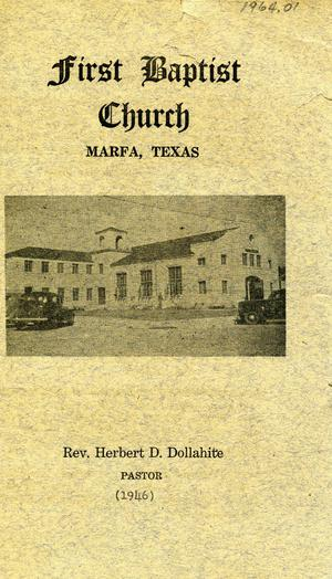 Primary view of object titled 'Bulletin, Baptist Church, Marfa, Texas, 1946'.