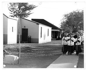 Primary view of object titled '[Acolytes in Procession at St. Mary's Catholic Church, Marfa, Texas]'.