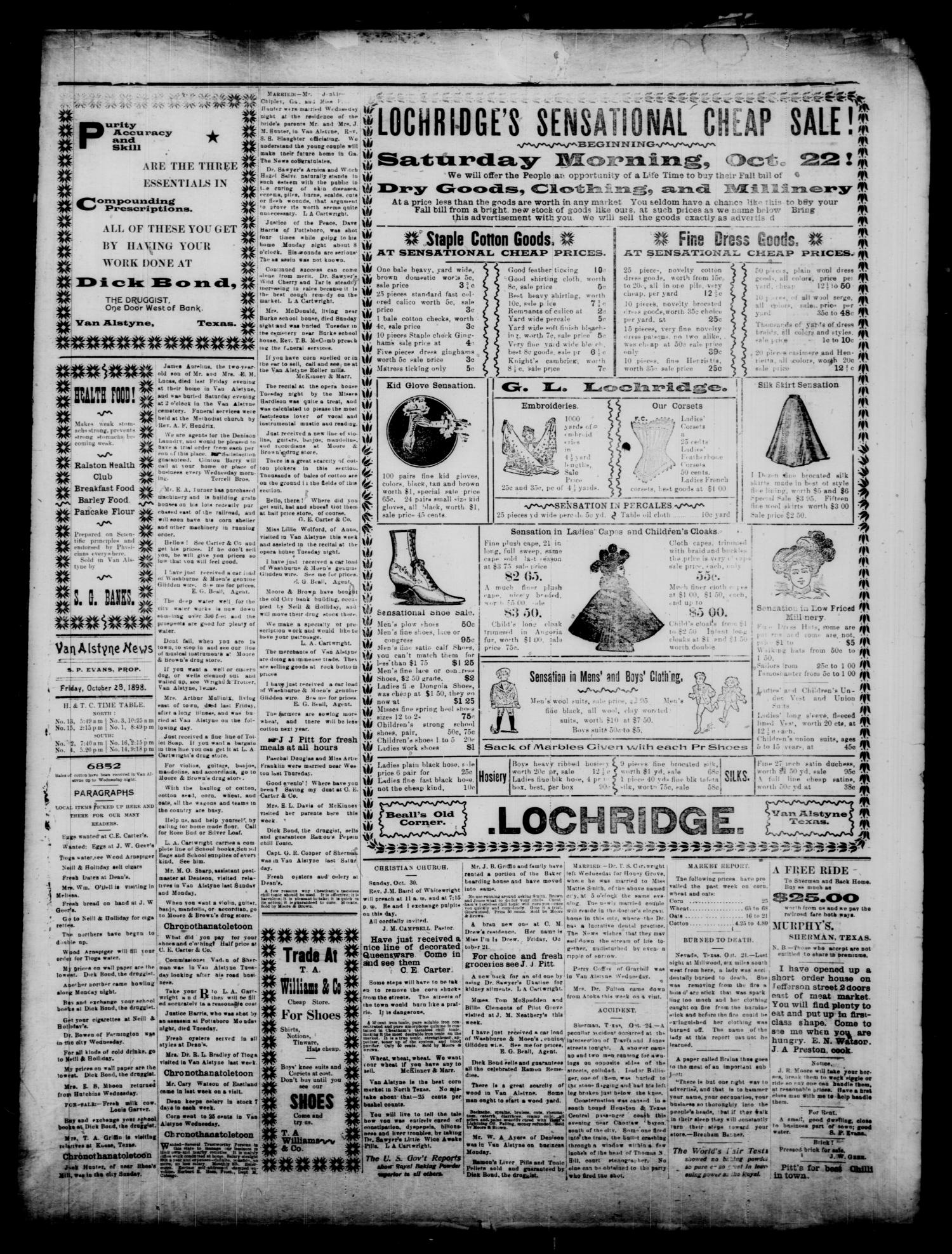 Van Alstyne News. (Van Alstyne, Tex.), Vol. 17, No. 26, Ed. 1 Friday, October 28, 1898                                                                                                      [Sequence #]: 3 of 4