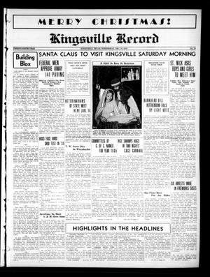 Primary view of object titled 'Kingsville Record (Kingsville, Tex.), Vol. 29, No. 19, Ed. 1 Wednesday, December 19, 1934'.