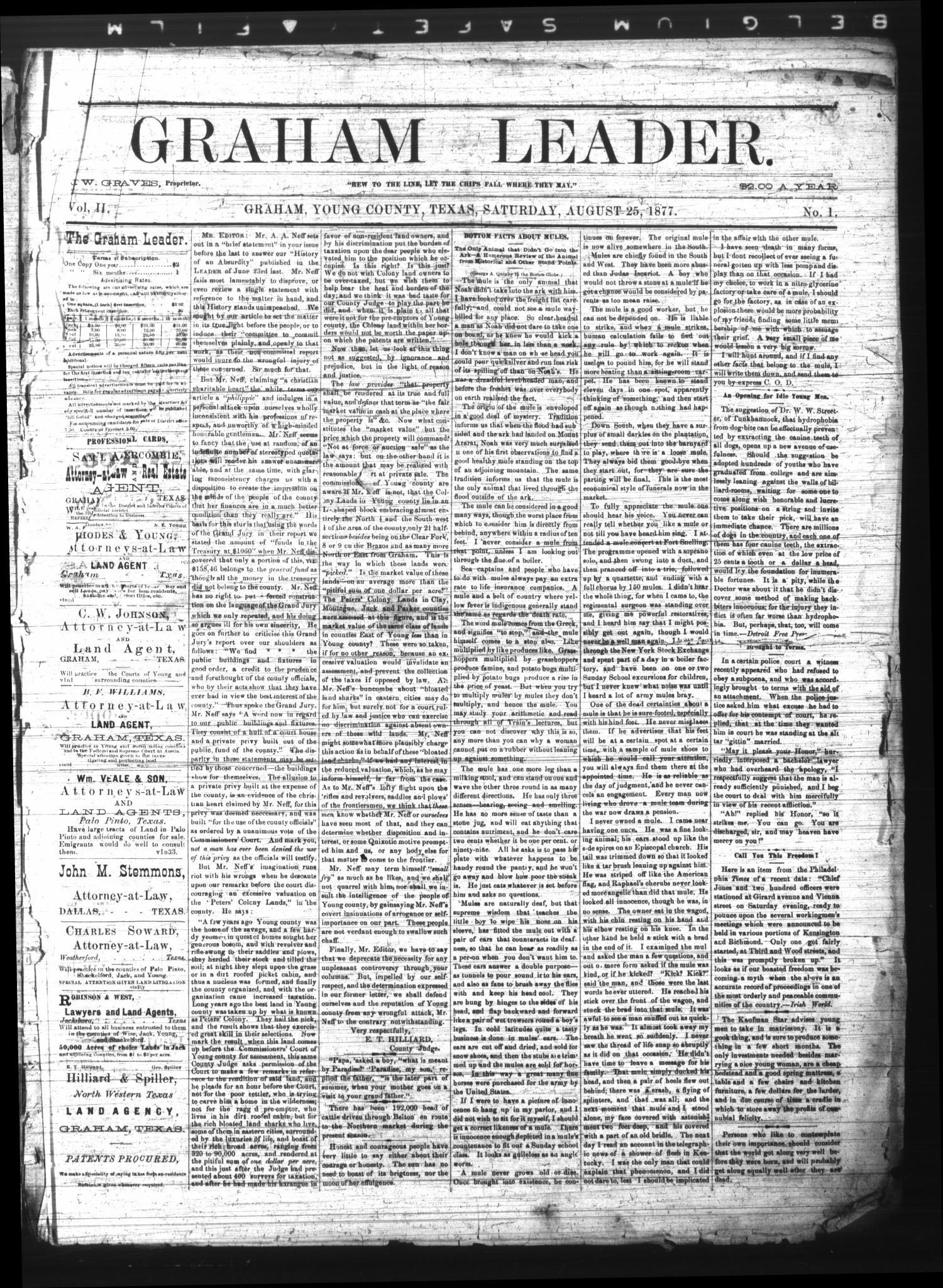 Graham Leader. (Graham, Tex.), Vol. 2, No. 1, Ed. 1 Saturday, August 25, 1877                                                                                                      [Sequence #]: 1 of 4