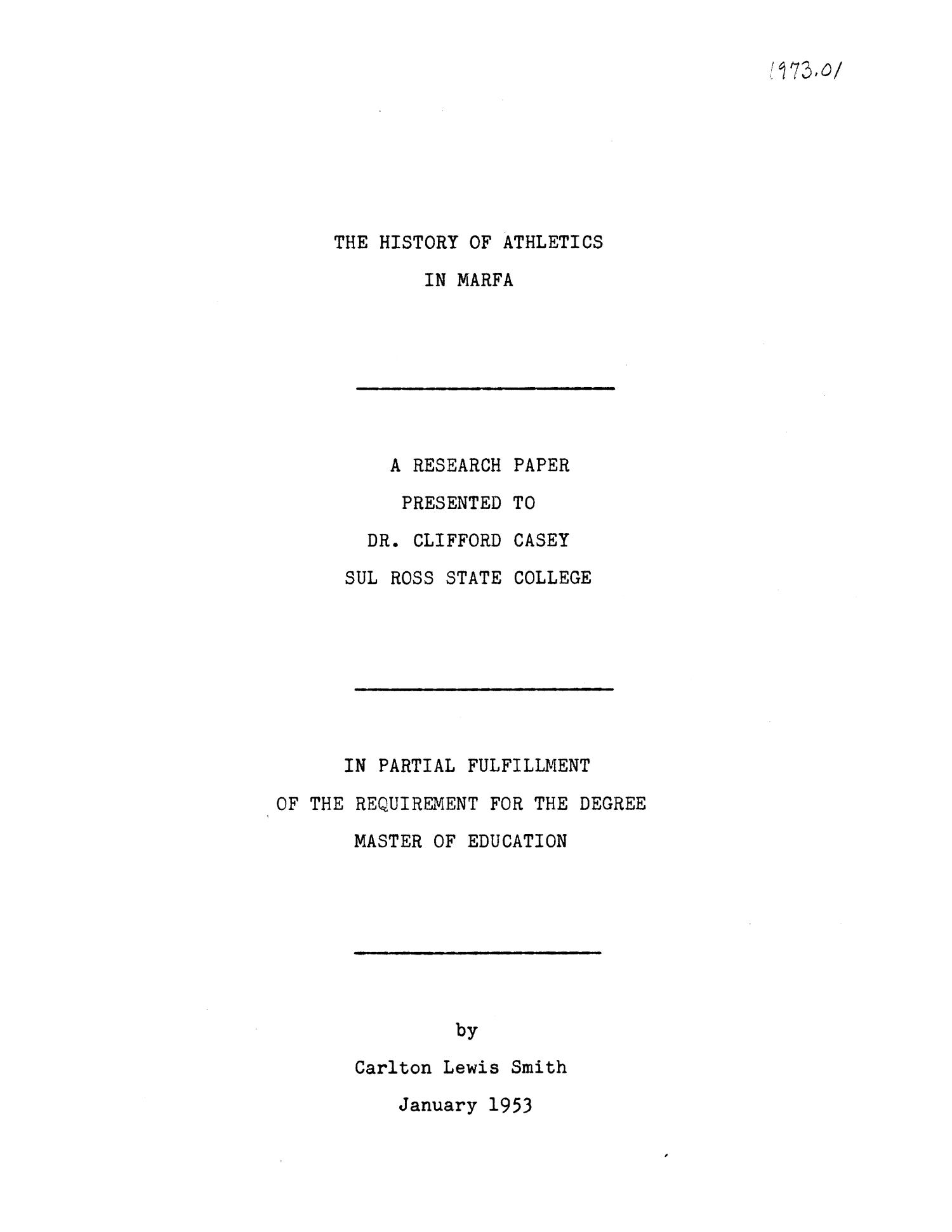 the history of athletics in marfa  a research paper