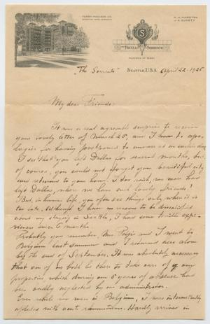 Primary view of object titled '[Letter from Edouard Potjes to Mrs. L. F. Turney, April 22, 1925]'.
