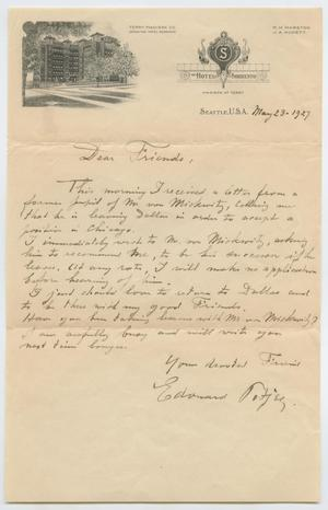 Primary view of object titled '[Letter from Edouard Potjes to His Friends, May 23, 1927]'.