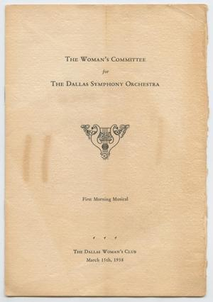 Program for Dallas Symphony Orchestra Concert, March 15, 1938