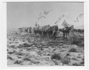 Primary view of object titled '[82nd Field Artillery Hiking to Marfa]'.
