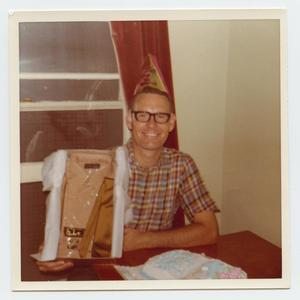 [Photograph of Pastor Joe Hough With Birthday Present]