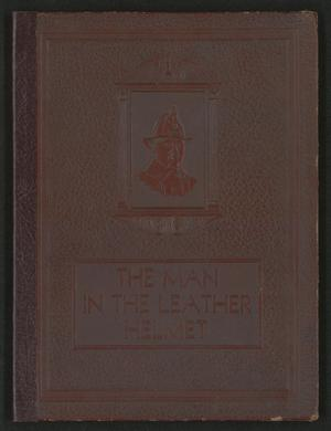 Primary view of object titled 'The Man in the Leather Helmet: A Souvenir Booklet of The Dallas Fire Department'.